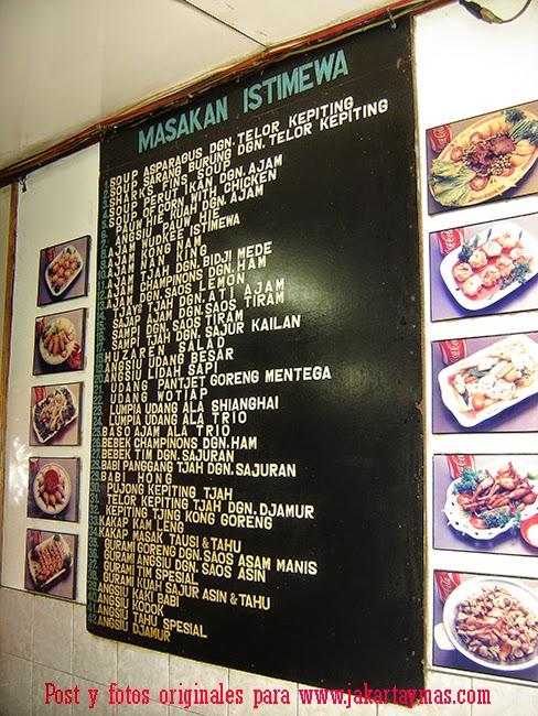 Carta del restaurante Trio de Yakarta