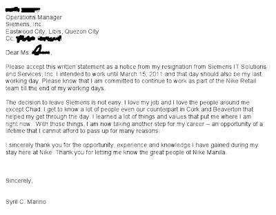 Call Center Resignation Letter Philippines