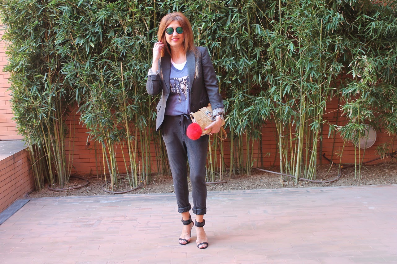 Look, Carmen Hummer, Pantalón Baggy, Sandals, Bag, Wilfox, Tshirt, Blazer, Cool, Style, Fashion blogger, Blog de Moda Madrid