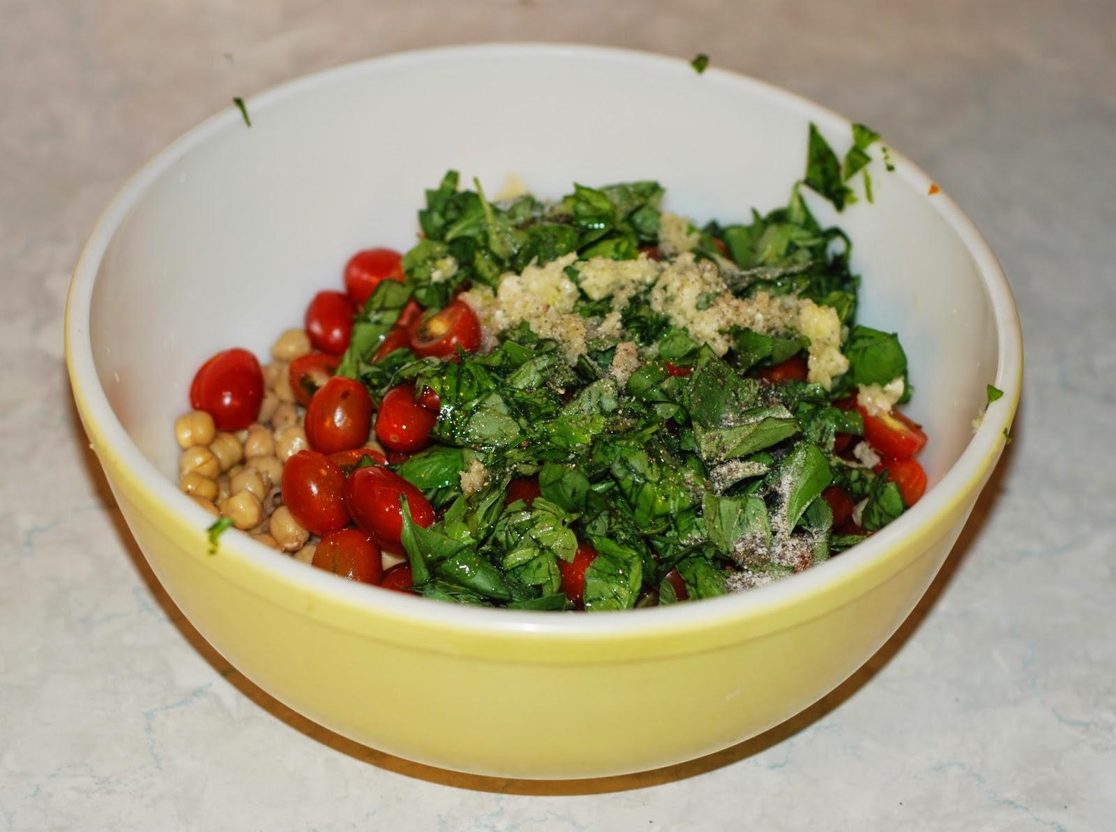 tomato, chickpea, basil salad