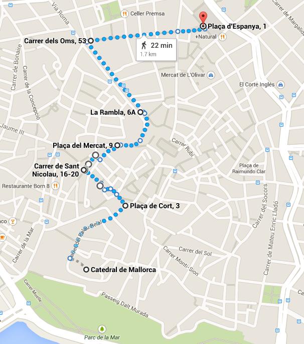 ruta palma catedral plaza espanya