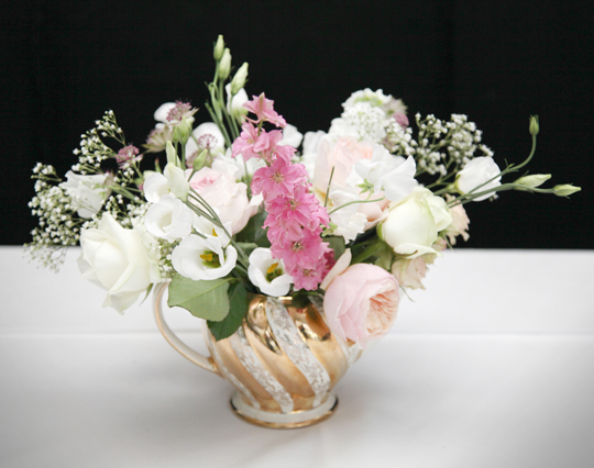 flowers in vintage teapot