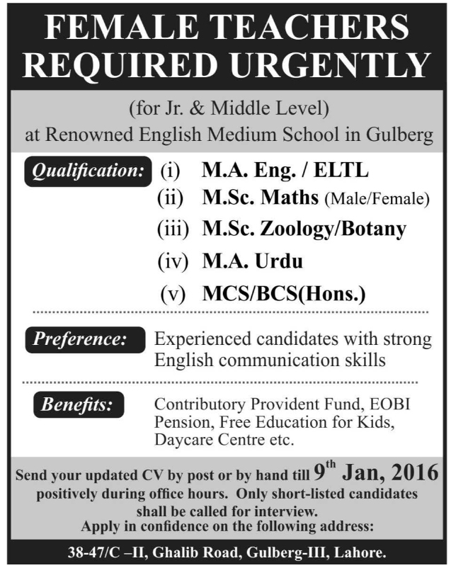 Female Teachers Jobs in English Medium School at Gulberg Lahore