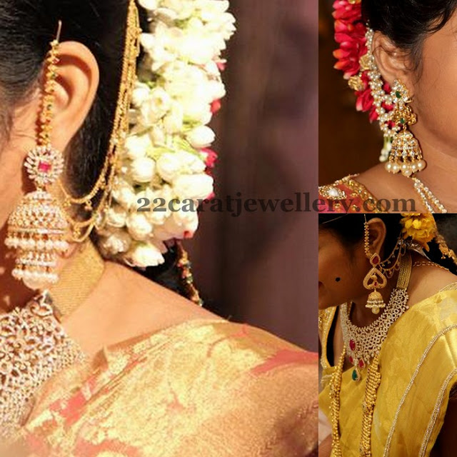 Steps Jhumkas with Side Ear Chains
