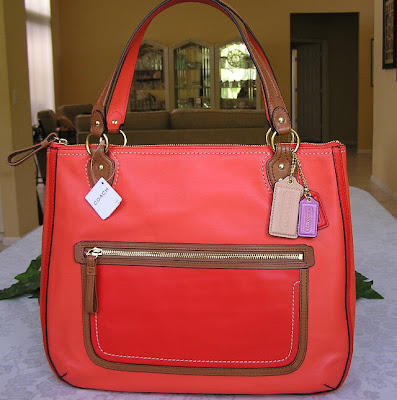 COACH Poppy Leather Block Hallie Tote 22430