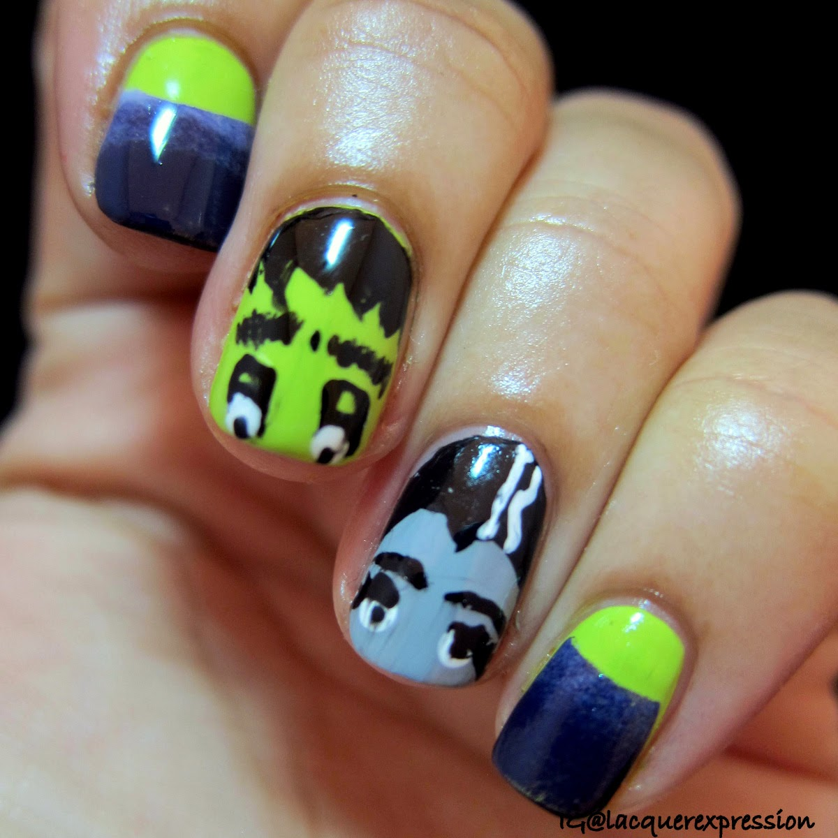 Frankenstein bride of Frankenstein Halloween nail art using Sinful Colors nail polish