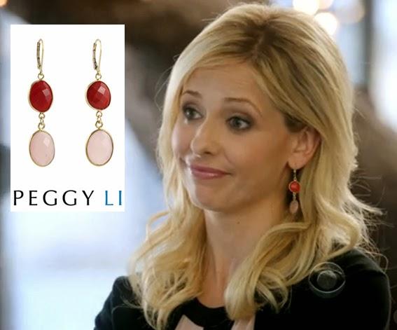 Sarah Michelle Gellar in Rosy Red Peggy Li earrings
