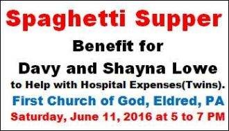 6-11 Spaghetti Supper Benefit