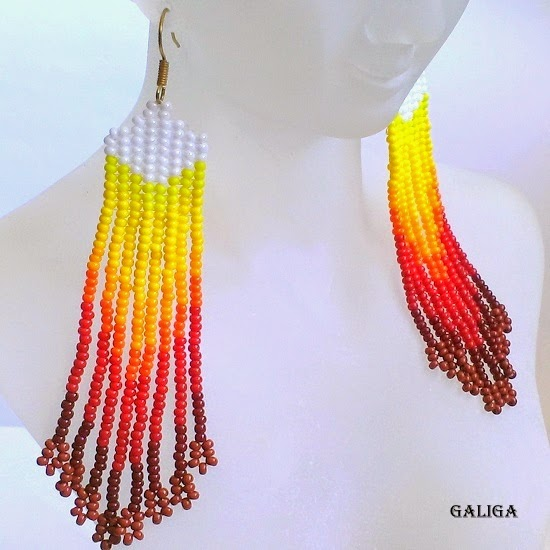 from light to dark seed bead earrings-earrings with fringe-colorful seed bead jewelry-white yellow red chocolate earrings