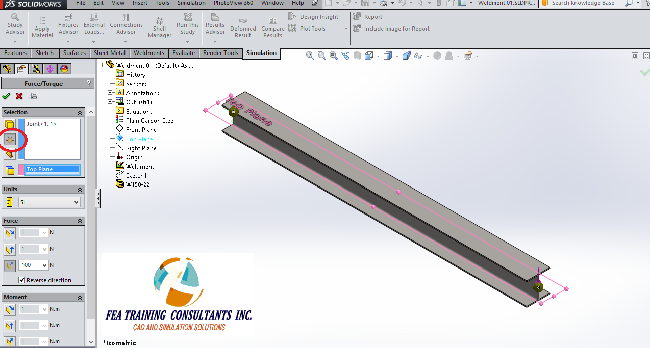 solidworks simulation- applying load