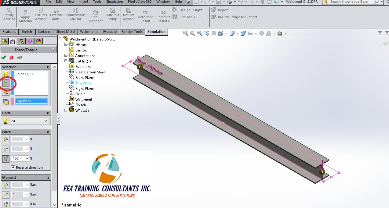 solidworks simulation- applying load