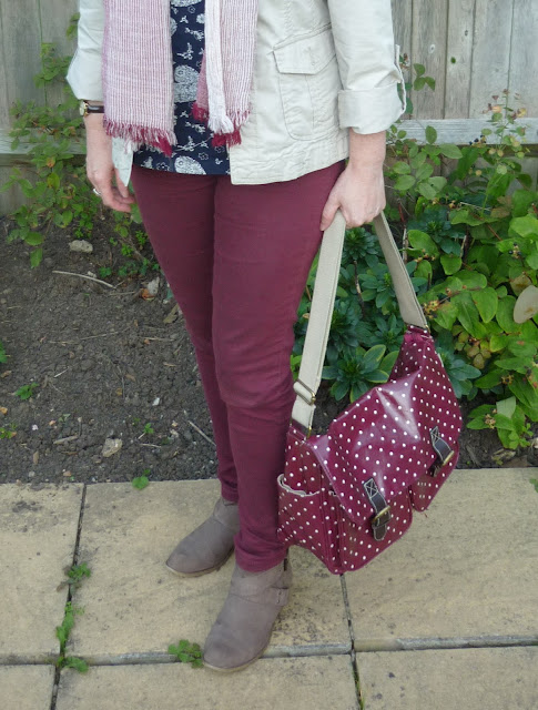 Red Jeans, Polka dot Satchel & Taupe Boots | Petite Silver Vixen