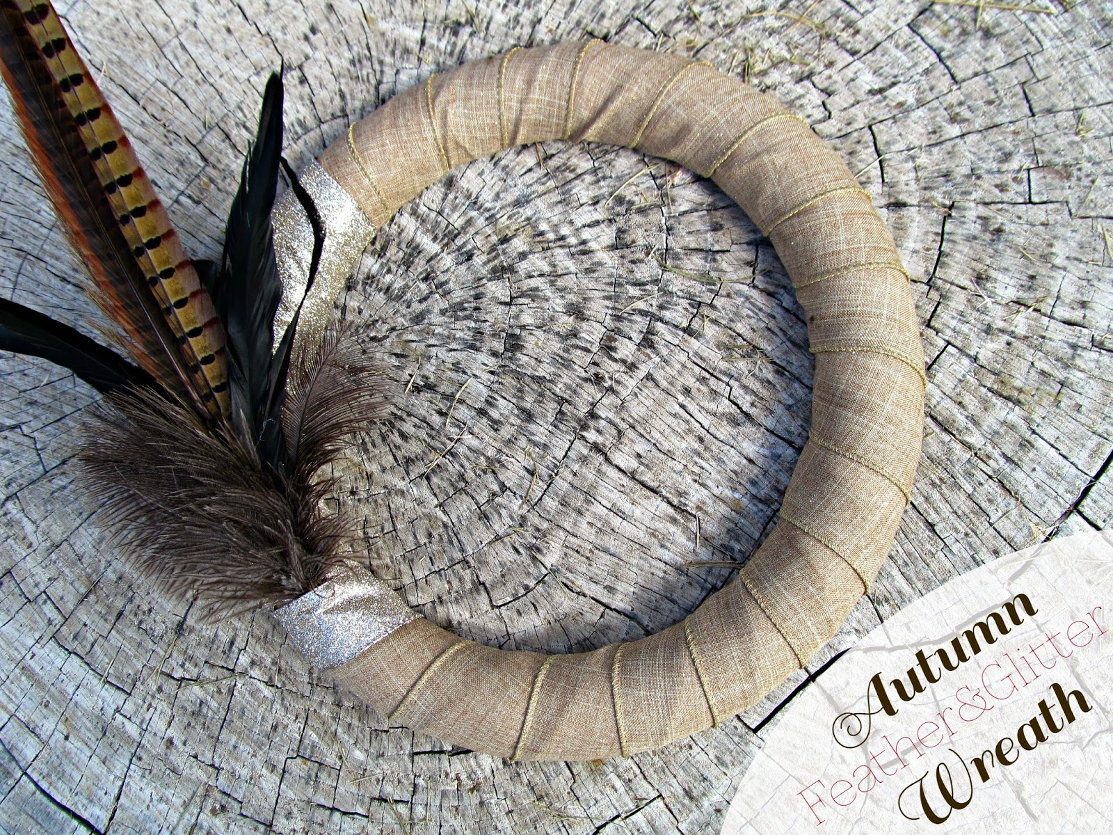 Beautiful Fall Feather & Glitter Wreath from It's Always Reutten