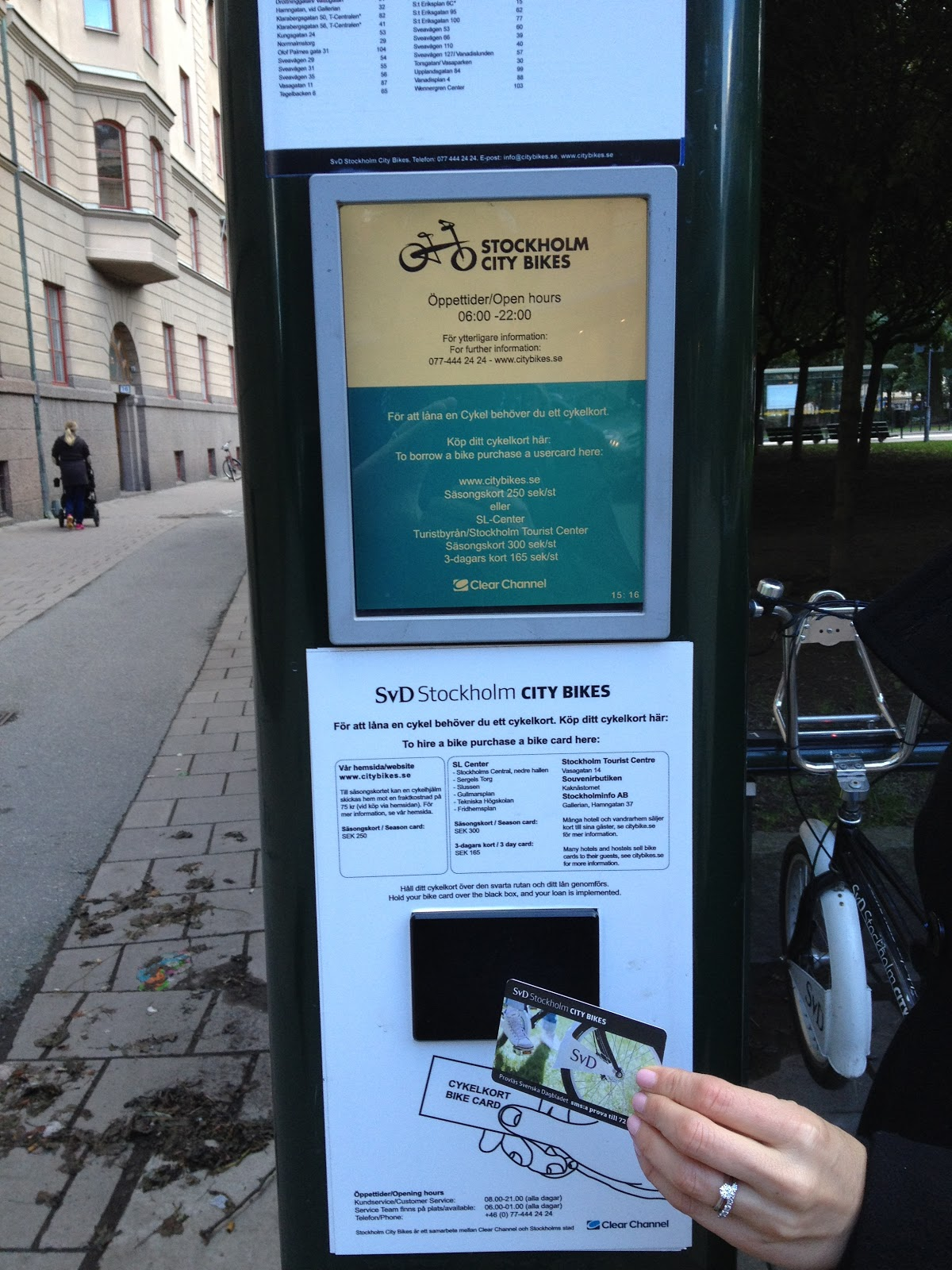 bike share card reader in Stockholm