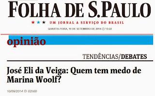 José Eli da Veiga :Quem tem medo de Marina Woolf?