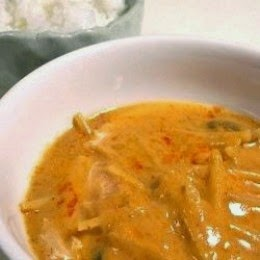 chicken red curry in a white bowl