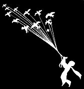 Evasión de El Principito aprovechando una migración de pájaros silvestres. Variación en trazos blancos sobre fondo negro a partir de la ilustración original del libro 'El Principito' de Antoine de Saint-Exupéry.