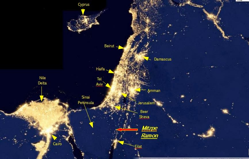 Israel Light Pollution Map
