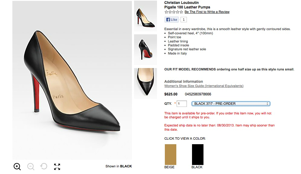 louboutin shoes price range