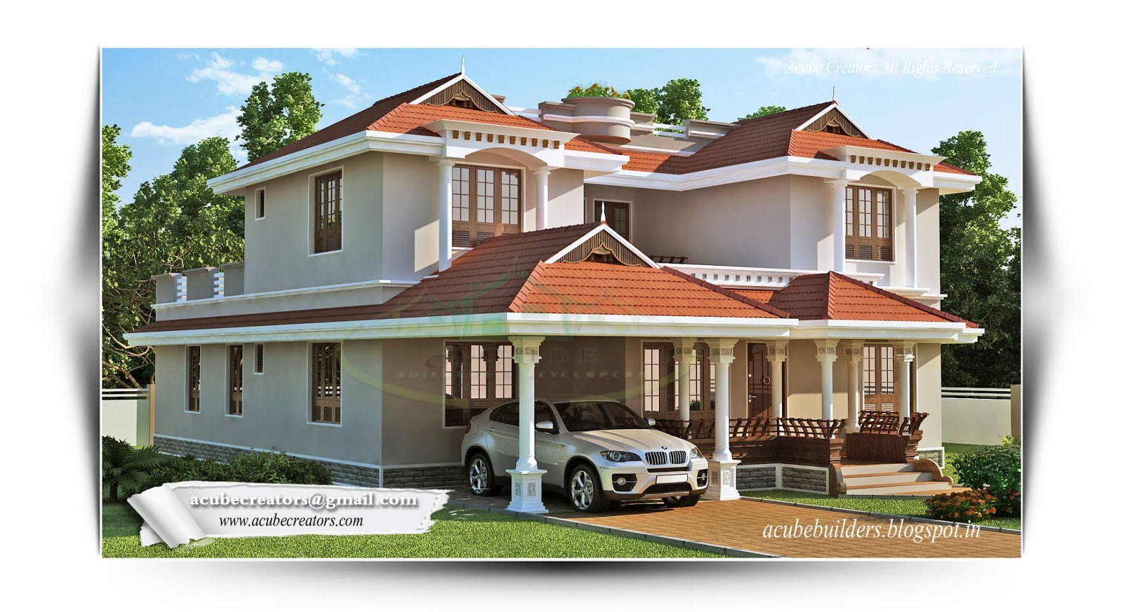 Kerala style home 2835 plan 167 acube builders for Kerala model house plans 1000 sq ft