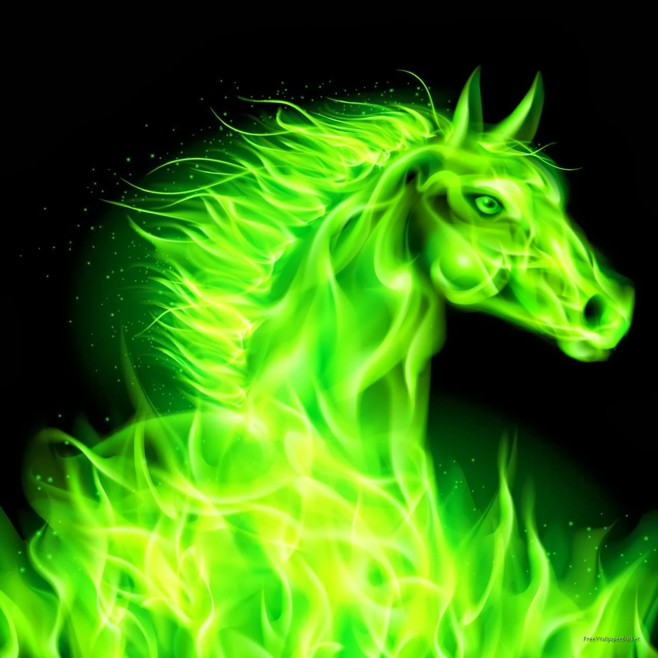 Green Fire Wallpaper Background All about anima...