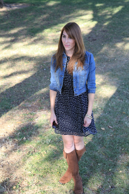 cropped jean jacket and polka dot dress