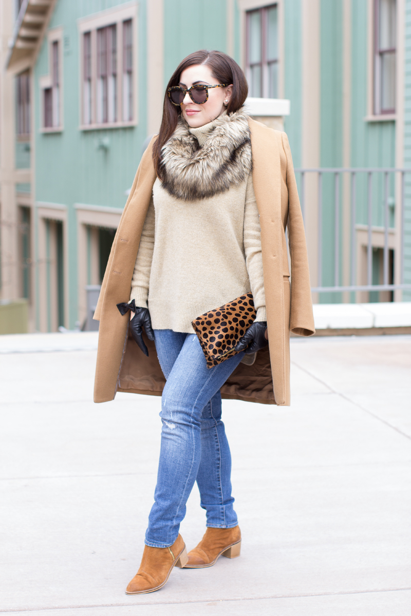 winter outfit idea, camel coat, brown suede boots, turtleneck sweater, leopard clutch