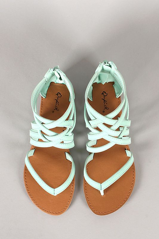 Stylish Mint Strappy Flat Sandals