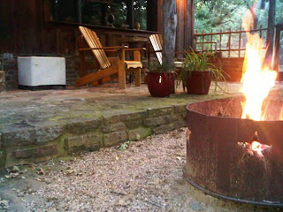 fire in pit at Oak cottage