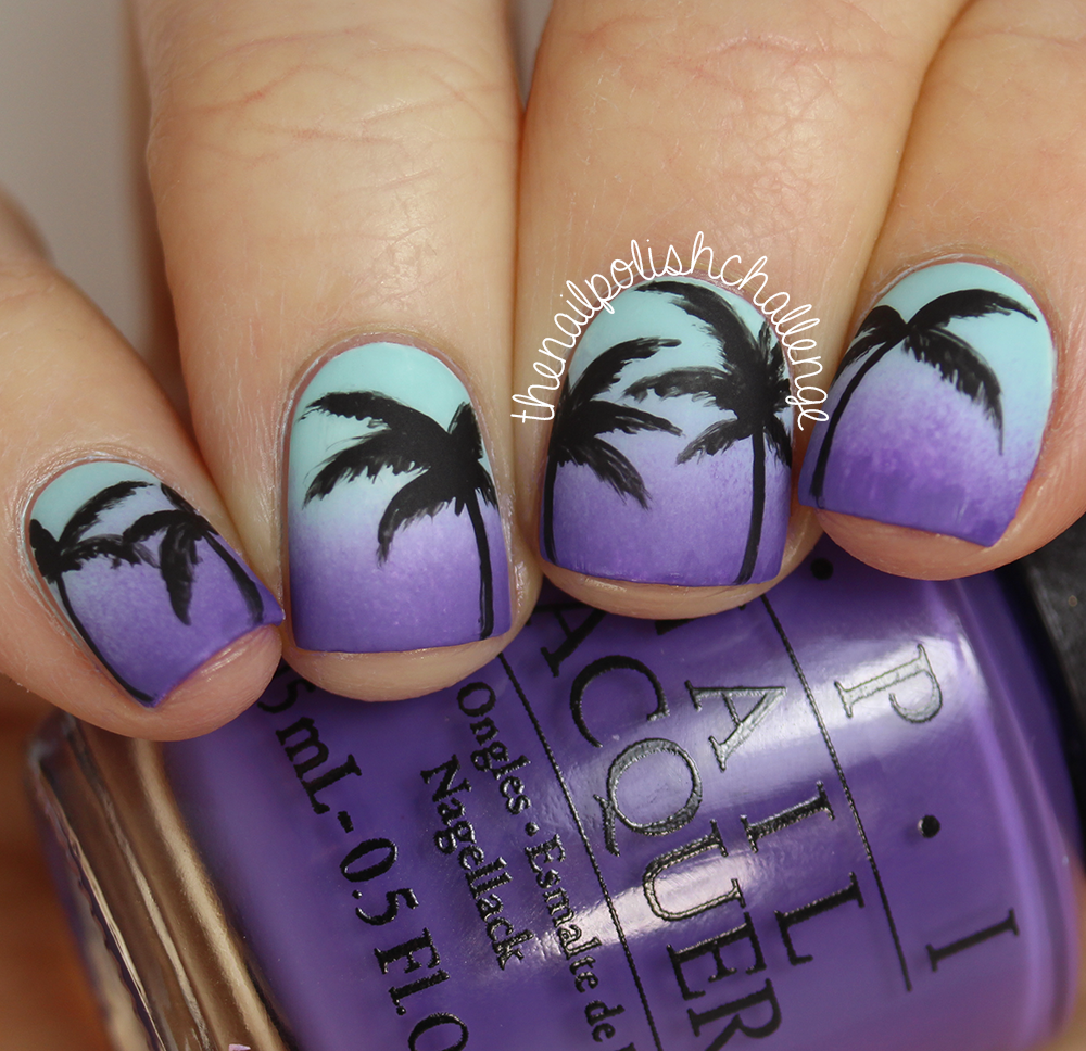 Kelli marissa inspired sunset gradient palm tree nail art to achieve this look i started with a base of kbshimmer eyes white open then sponged on a gradient of zoya lillian and opi lost my bikini in molokini prinsesfo Image collections