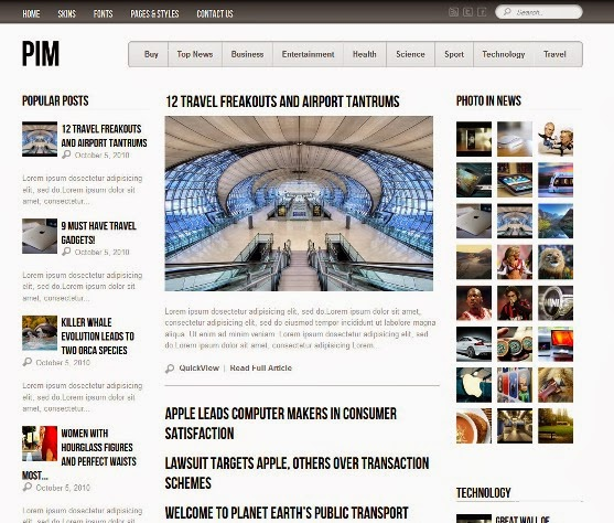 PIM - Newspaper Magazine and Blog Template