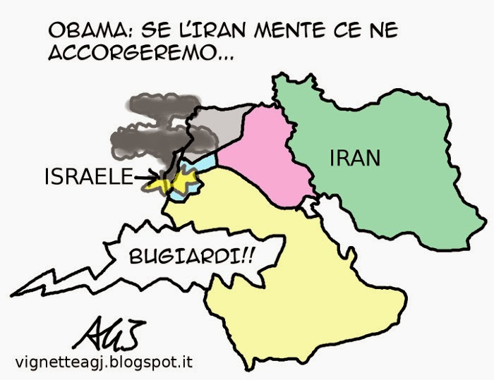 iran, usa, obama, nucleare, satira, vignetta
