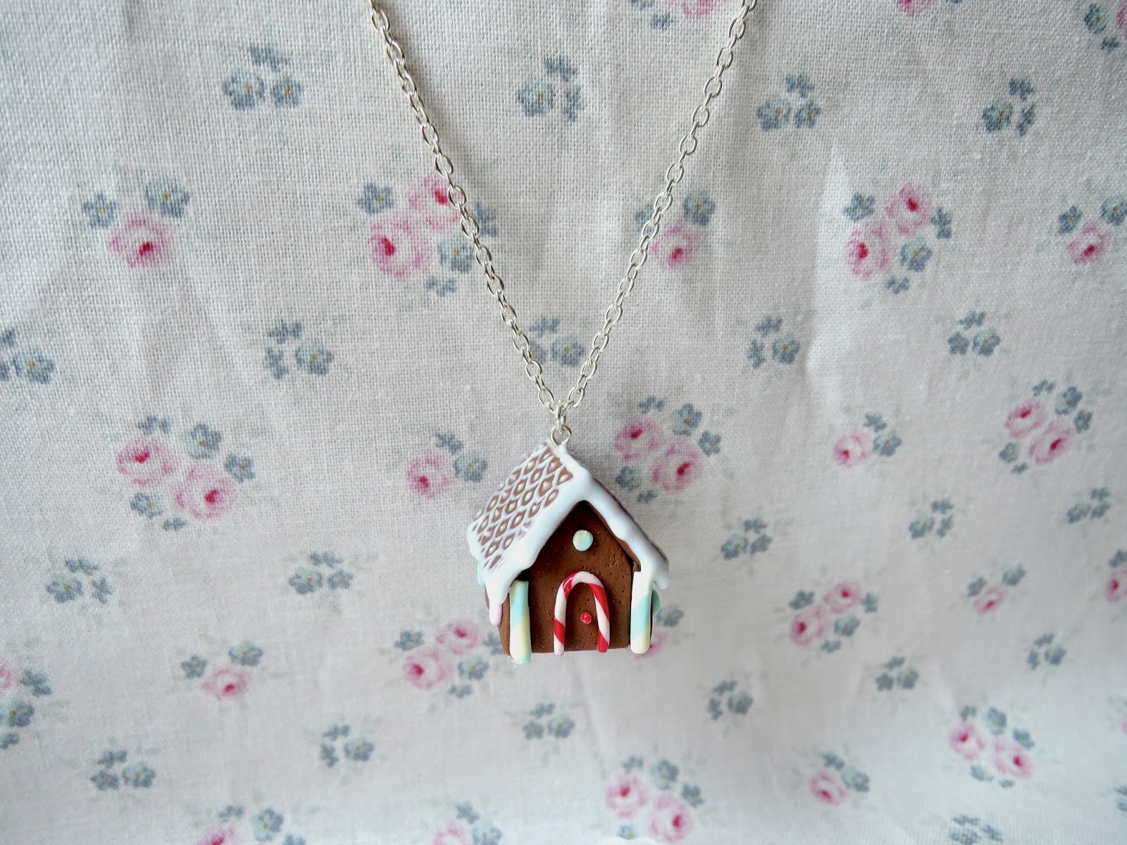 Gingerbread house necklace miniature food jewellery meow box