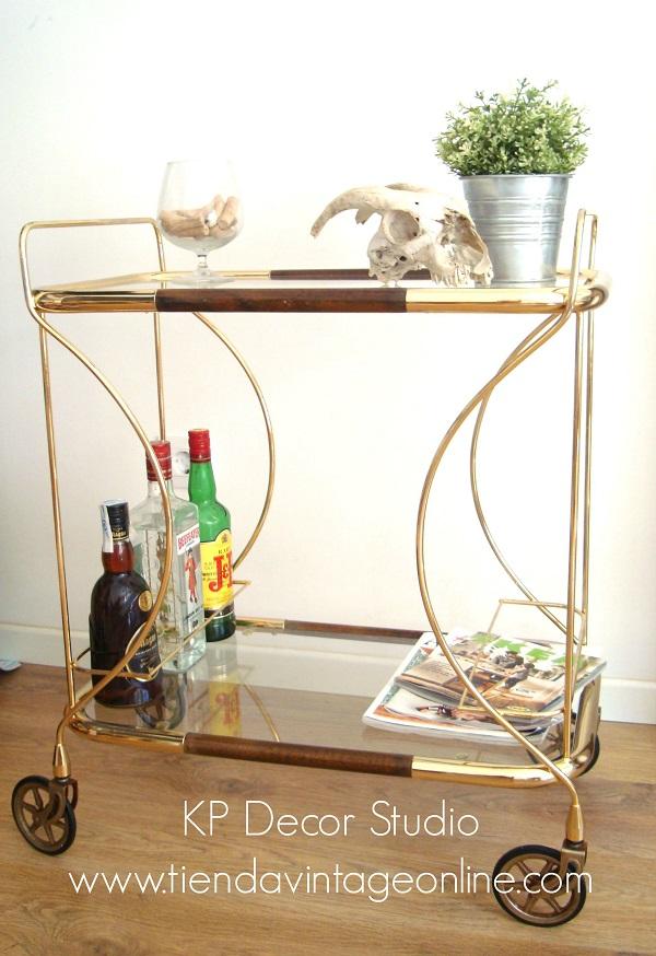Kp tienda vintage online carrito de bebidas vintage dorado ref a19 - Carrito camarera vintage ...
