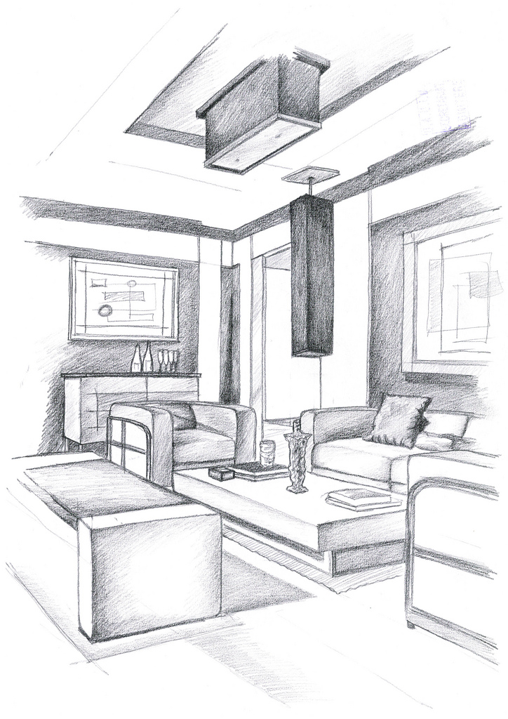 Interior design hand drawings alexandra l nicolaescu for Interior design layout drawing