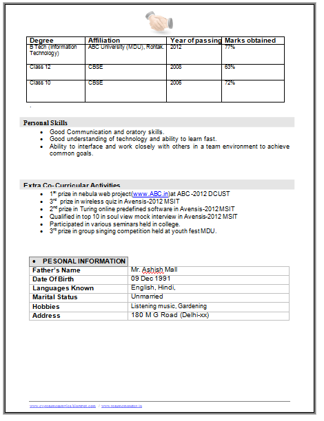 B Tech Resume Format  Page