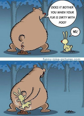 Hilarious Bear Rabbit Fur Poo Joke Cartoon