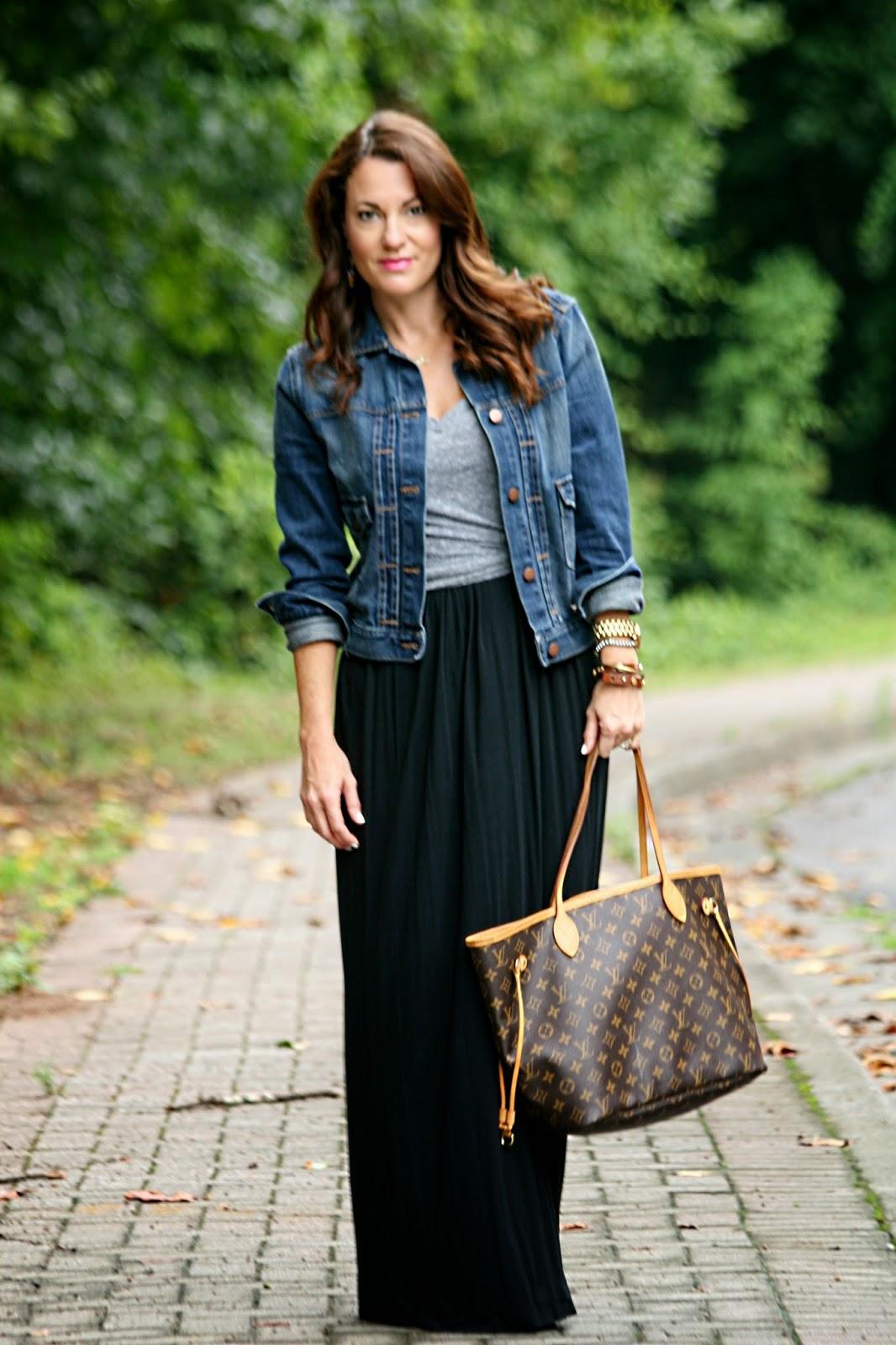 Jean jacket and maxi dress