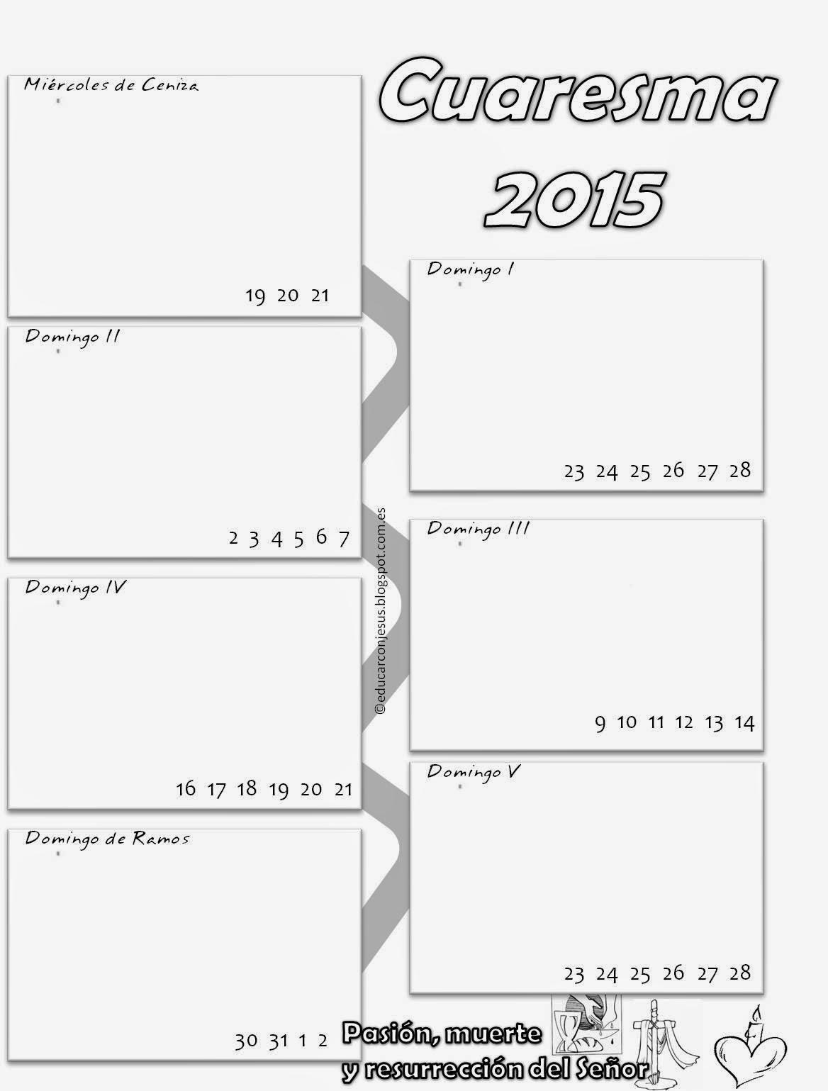 Educar con Jesús: Calendarios de Cuaresma - ciclo B - 2015