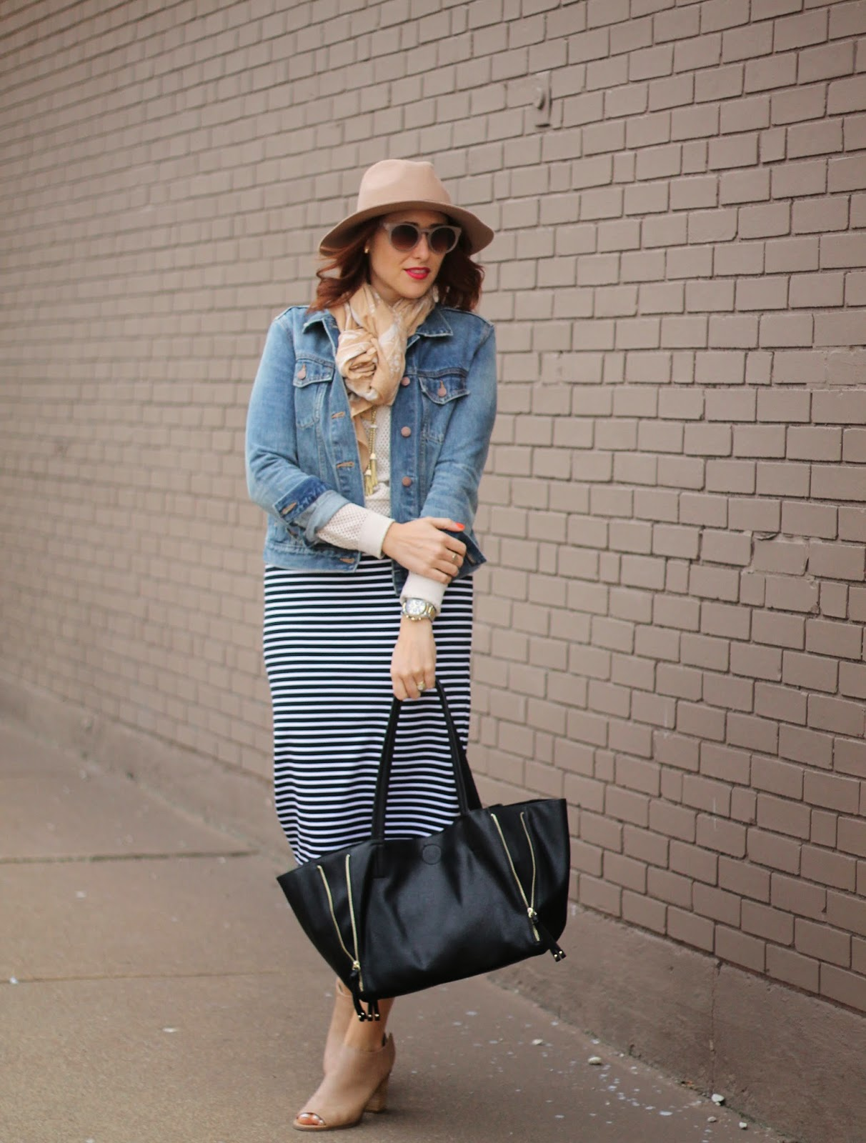 striped, midi, fedora, jean, jacket