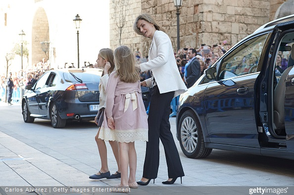 Spanish Royals Princess Leonor of Spain, Princess Sofia of Spain and Queen Letizia of Spain attend the Easter Mass at the Cathedral of Palma de Mallorca