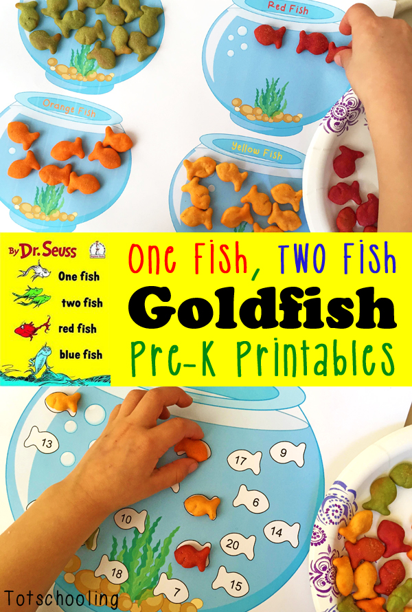 free printables to go along with goldfish crackers and dr seuss book one fish - Free Toddler Printables