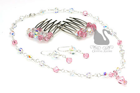 Courtney's Custom Senior Ball Pink Crystal Jewelry Set (NC137, E299, HC110)