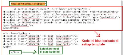 script widget multi tab
