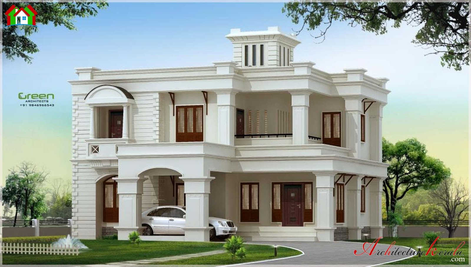 3000 square feet kerala house elevation architecture kerala for Home designs 3000 square feet