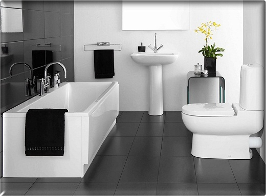 Small bathroom designs in black and white