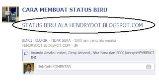 membuat tulisan biru di facebook