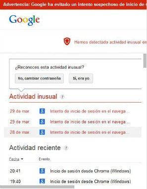 detecté actividad inusual en cuenta de Google