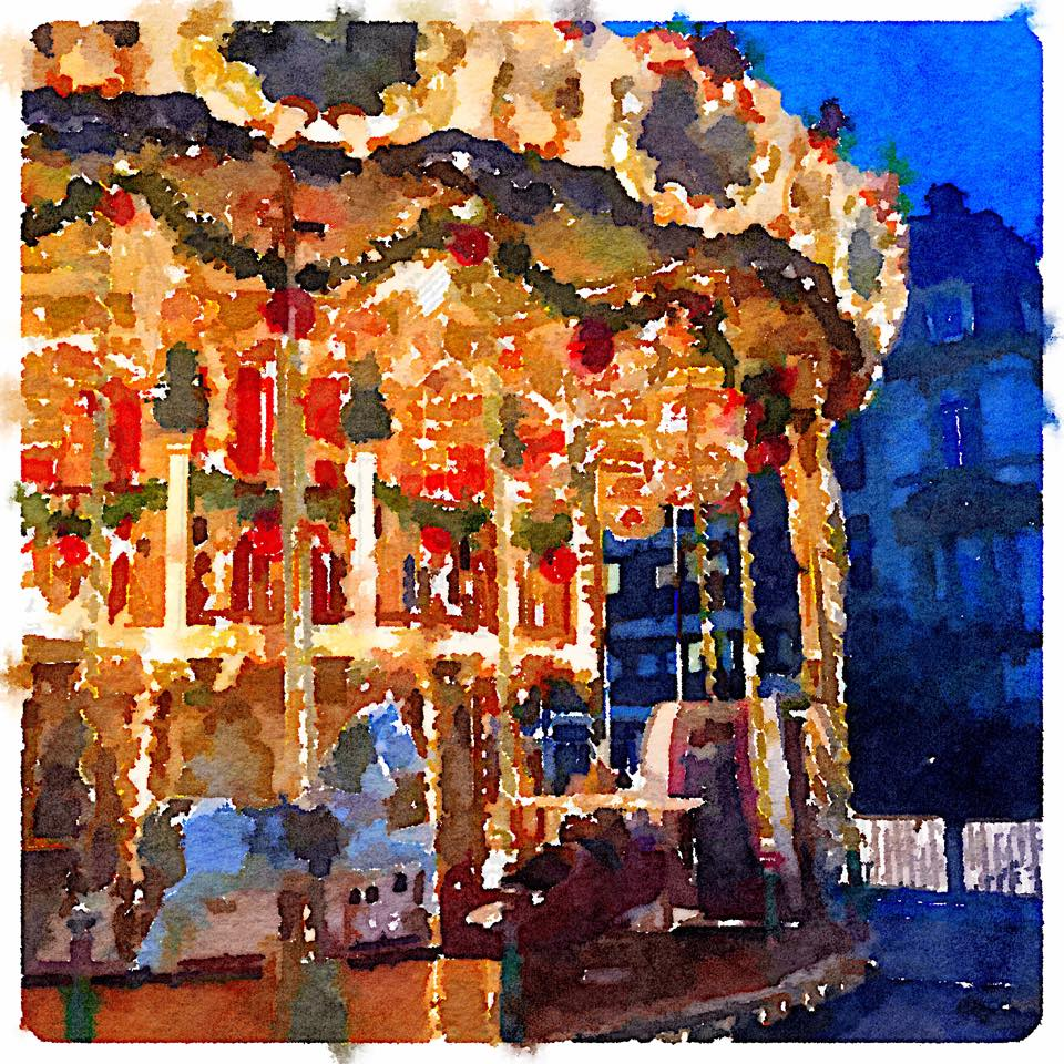 Christmas market watercolor painting