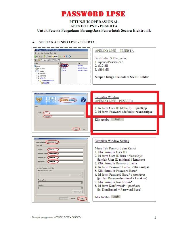 PASSWORD LPSE sering bertanya kepada panitia lelang mengenai USER ID ...